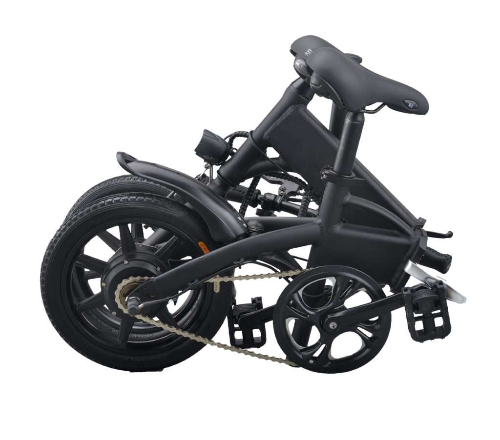 foldable electric bicycle picture in folding status