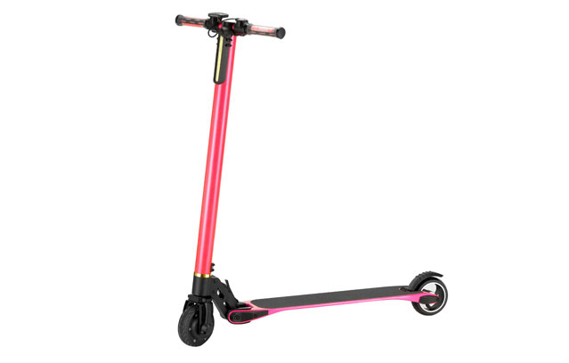 5 inch carbon fiber electric kick scooter pink color