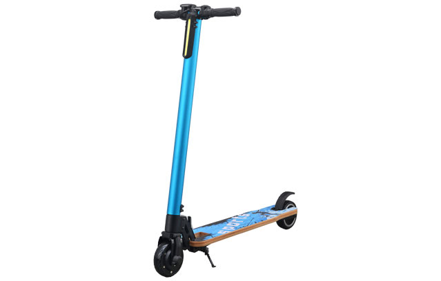 5 inch wooden electric kick scooter in blue color