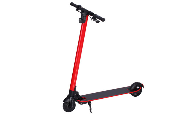 newest carbon fiber electric scooter with folding handle bar in red color